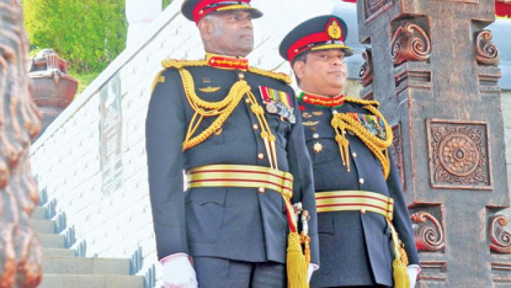 Army Commander Lt. Gen. Mahesh Senanayake at the ceremony to mark the 69th anniversary of the Army, at the Panagoda Army Cantonment yesterday morning.  Picture by Wasitha Patabendige