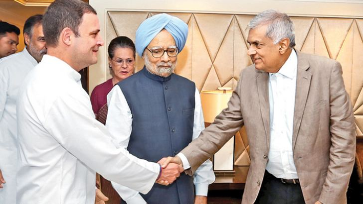 Prime Minister Ranil Wickremesinghe met the President of the Indian National Congress Rahul Gandhi at the Taj Hotel in New Delhi yesterday. Former Indian Prime Minister Dr. Manmohan Singh and Sonia Gandhi were also present.  Picture courtesy Prime Minister's Media Unit