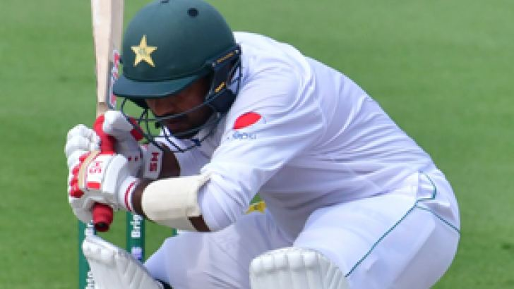 Pakistan captain Sarfraz Ahmed ducks at short ball on the fourth day of the second Test against Australia at Abu Dhabi.