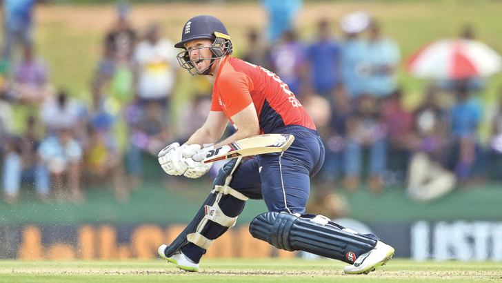 England captain Eoin Morgan reverse sweeps during the fourth ODI against Sri Lanka at Pallekele Stadium. Morgan was named Man of the Match.