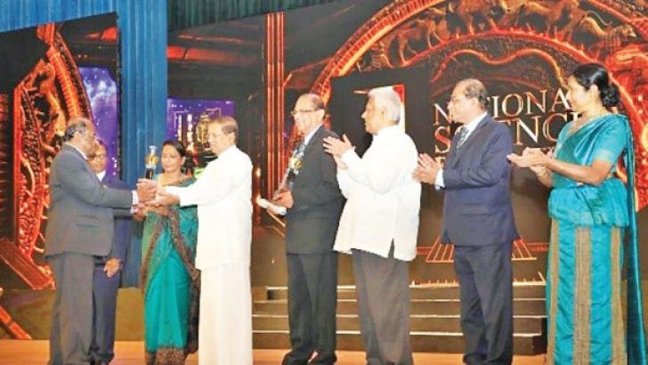 Chairperson of the National Science Foundation Prof. Srimali Fernando, Prof. R. A. K. L. Dissanayake, President Maithripala Sirisena, Prof. C.B. Dissanayake Minister of Science, Technology, Research, Skills Development and  Vocational Training and Kandyan Heritage Dr. Sarath Amunugama, Udaya R. Seneviratne, Secretary to the President.