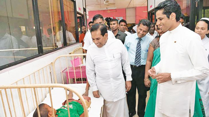 Health Minister Dr. Rajitha Senaratne  and MP Chathura Senaratne at the Minuwangoda Hospital.