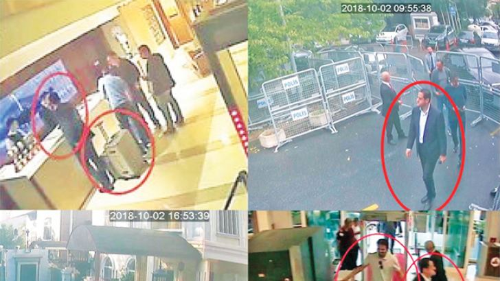 Maher Abdulaziz Mutreb, a frequent companion of Saudi Arabia's crown prince, in surveillance footage from the day of Jamal Khashoggi's disappearance inside the Saudi consulate in Istanbul. Clockwise from top left, at a hotel, outside the consulate, at the airport, and outside the consul's residence.