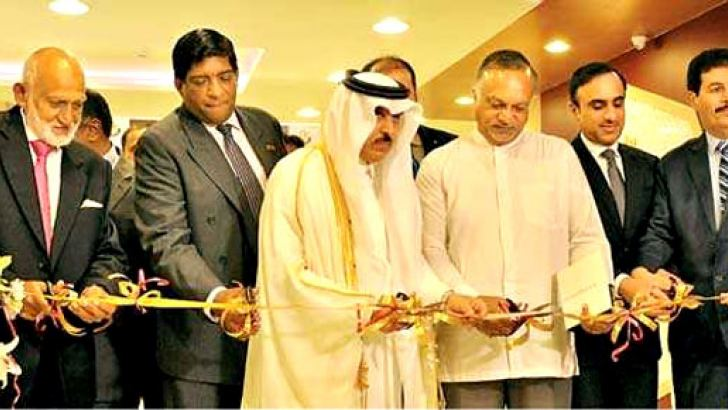 The State of Qatar ambassador in Colombo, Dr Rashid bin  Shafea Al- Marri, Doha Qatar, Ministry of Interior's Visa support  Services Department Director, Major Abdullah Khalifa Al Mohannadi, and  other invitees at the event. Picture by Sulochana Gamage