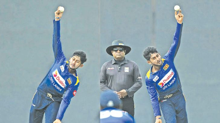 Kamindu Mendis shows off all his tricks during the two-day warm-up match between Sri Lanka Board XI and England at the P Sara Oval.