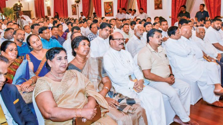 Senior Ministers, MPs and electoral organisers of the SLFP at the meeting yesterday. Pictures courtesy President's Media Division