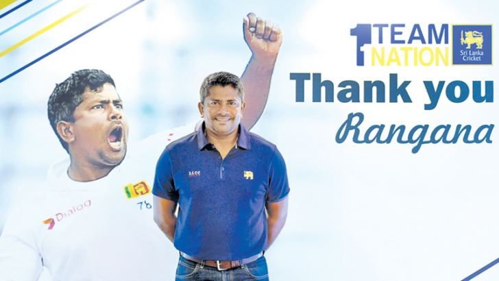 Rangana Herath poses for a photograph at the media conference held at the Galle International Stadium yesterday. – AFP