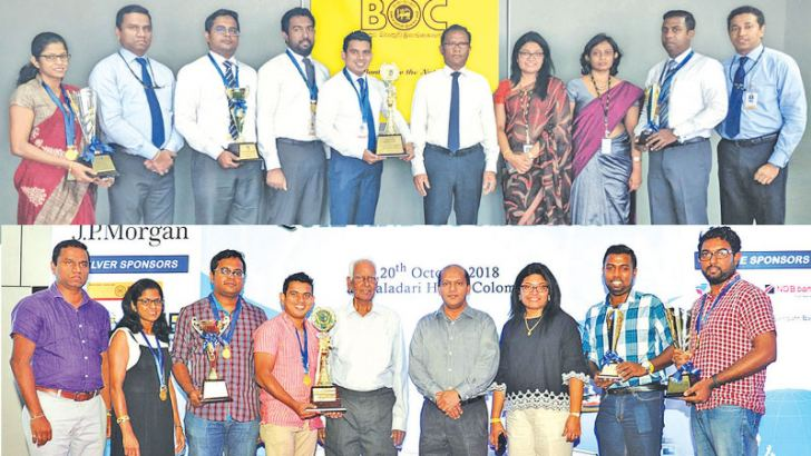 The winning team with the Bank's CEO and General Manager Senarath Bandara, Assistant General Manager Trade Services MMRP Fernanco, Acting Chief Manager Trade Services Kapila Susantha, Senior Manager Yasitha Aluthgedara.  And the winning team with Deputy General Manager Corporate and Offshore Banking Russell Fonseka, Past President of TFAB A. Kathiraveluppllai and Assistant General Manager Trade services.