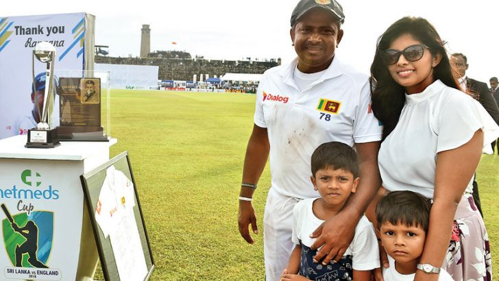 Rangana Herath who retired from international cricket with his wife and two kids after the presentation ceremony. – AFP