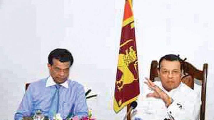 Chairman of Sri Lanka Ports Authority (SLPA)  Dr. Parakrama Dissanayake and Minister of Ports and Shipping Mahinda Samarasinghe briefing on the latest growth of the Port of Colombo  at a recent  progress evaluation meeting.