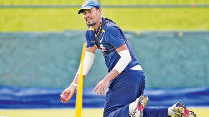 Suranga Lakmal who will lead Sri Lanka in the remaining two Tests against England at practice in Pallakele. – AFP
