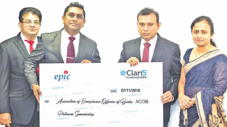 Sanjeeva Perera, Senior Vice President of Epic Lanka, Viraj Mudalige, Managing Director/Chief Executive Officer of Epic Lanka, Sudarshana Jayasekara, President of Association of Compliance Officers of Banks and Dilani Sooriyaarachchi, Secretary of Association of Compliance Officers of Banks