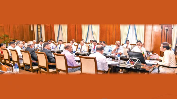 President Maithripala Sirisena chaired a meeting to discuss the progress of the special development programmes being carried out under the Presidential Task Force at the Presidential Secretariat yesterday. Picture by Sudath Silva