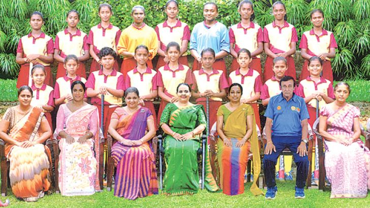Janadhipathi Balika Under 14 Hockey team. Front Row Seated From Left: Dulani Imasha (vice Captain), Mrs Wasanthika Kalubowila (Teacher in Charge), Mrs. Thanuja Rathnayaka (teacher in Charge), Mrs. Kumari (vice Principal), Mrs. Nayana Lalshitha Wanniarachchi (Principal), Mrs. Tharsha Ranasinghe (Assistant Principal), A. N. Perera (Coach), Mrs Lorani (Teacher in charge), Dulanji Thilinika (Captain). Standing Second Row from left to right: Senaya Dedunu, Damruni De Costa, Sakeetha Yasasui, Sathmi Sadithma, Nes
