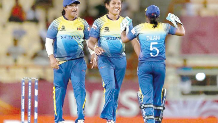 Chamari Atapattu celebrates the wicket of Jahanara Alam whom she trapped lbw.