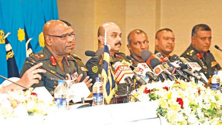 Army Commander Lieutenant General Mahesh Senanayake along with other Army officials addresses journalists.