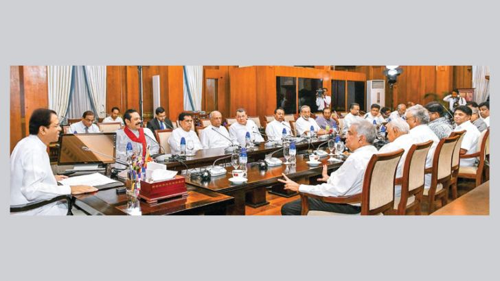 President Maithripala Sirisena chairing the meeting he had with political party leaders at the Presidential Secretariat last evening. Picture by Sudath Silva.