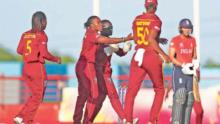 Shakera Selman of West Indies Women celebrates the wicket of Natalie Sciver of England Women in their ICC Women's World T20 match played at St Lucia's.