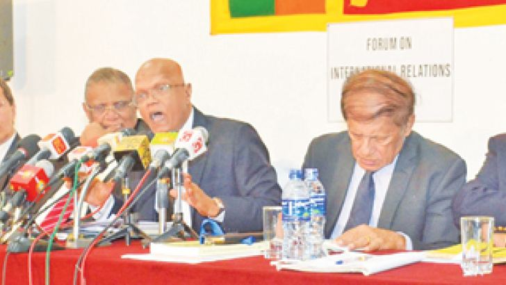 The former ambassadors addressing the media. Picture by Sarath Peiris