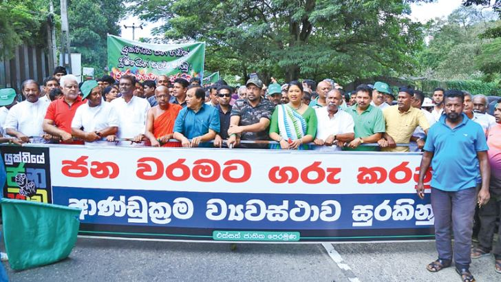 The gathering at the protest rally organised by the United National Front and the Collective of Civil Organisations in Kandy. Picture by Asela Kuruluwansa.