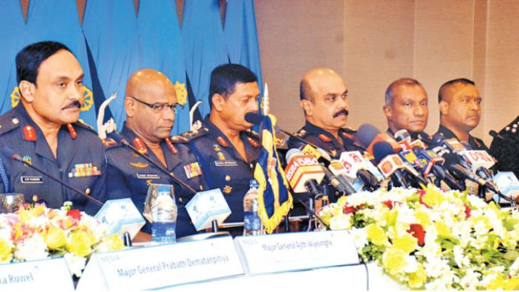 Army Commander Lieutenant General Mahesh Senanayake and other panelists at the event. Picture by Gayan Pushpika