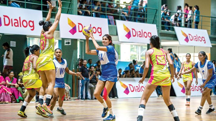 The Army vs Ports Authority match in progress on the opening day of the Dialog National Netball Championship 2018 at the Ratnavali Balika Vidyalaya Gampaha indoor complex yesterday.