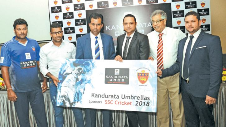 Samantha Dodanwela – Chairman – cricket House Committee SSC (Third from left) receiving the Sponsorship Cheque  from M. T. M. Nawushad (Chairman Kandurata Umbrella) The others From left – Thilma Kandambi (Head coach – SSC cricket), Dummika Prasad – (Captain SSC cricket), Michael de Zoysa – (member of cricket committee and ground secretary of SSC) and M.T.M. Naufal, Managing Director Kandurata Umbrella.   Picture by Wimal Karunathilake