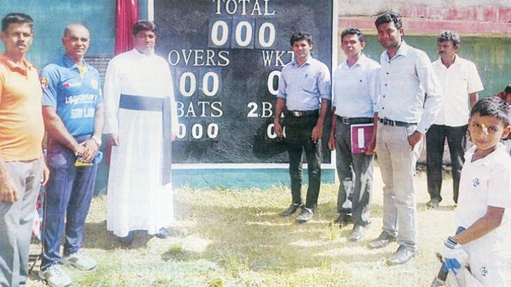 Standing L/R – W. A. M. S. Abeywickrama, Sanjeeva Rasanga (cricket coach), Rev. Fr. Sudath Hemantha Fernando (Principal), Chatura Jayasinghe (Prefect of Games), Samitha Nuwan (Master-in-Charge of Cricket), Malaka Chaturanga (Member of the staff)   Picture by Dilwin Mendis, Moratuwa Sports Special Correspondent