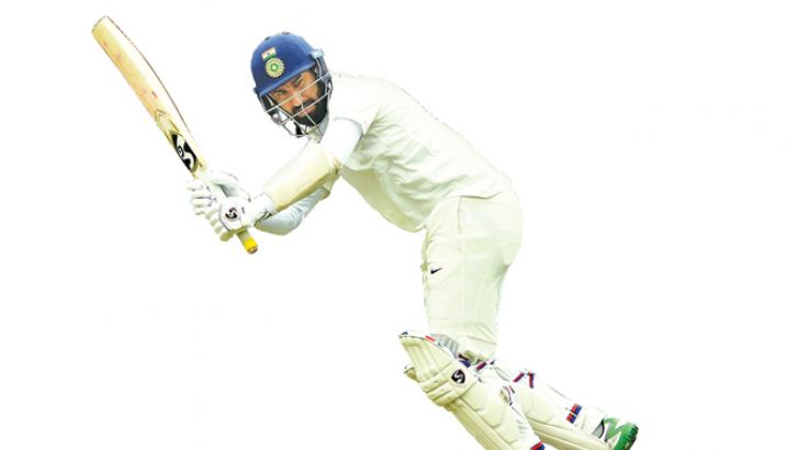 India's Cheteshwar Pujara plays a shot during day one of the first cricket Test match against Australia at the Adelaide Oval on Thursday. AFP