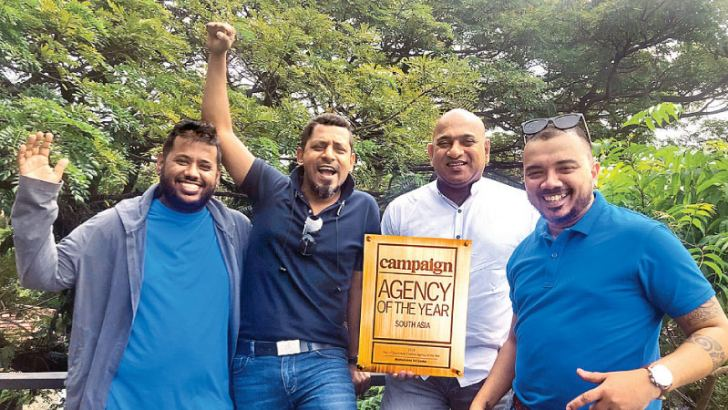 MullenLowe Sri Lanka's Senior Vice President/Executive Creative Director, Dilshara Jayamanna; Vice President/Executive Creative Director, Chandu Rajapreyar; Chief Executive Officer, Thayalan Bartlett and Associate Vice President and Client Service Director, Sean Pompeus with the Gold award