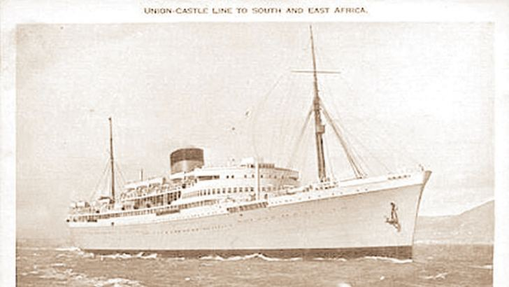 The ship Athlone Castle that took the England cricketers home from Cape Town.