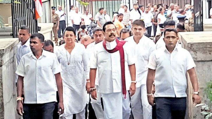 MP Mahinda Rajapaksa and Shiranthi Rajapaksa participated in religious observances at the Sri Dalada Maligawa, Kandy. Picture by Asela Kuruluwansa