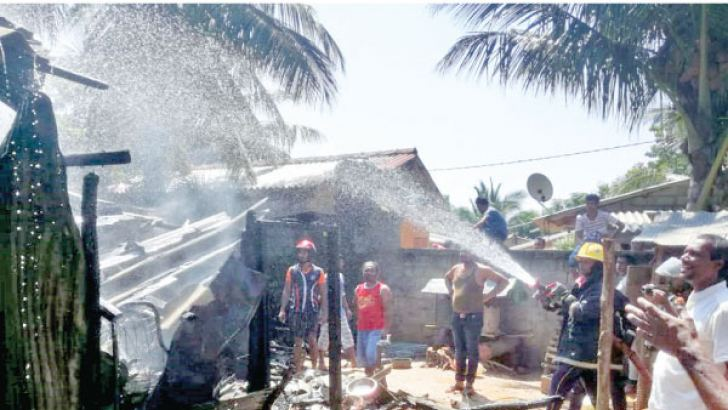 The Emergency Response Team of Hambantota International Port responds to fire at the Tsunami Village