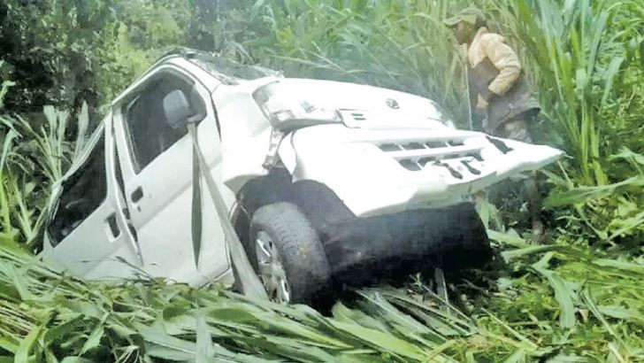 The van involved in the accident. Picture by T.K. Mahinda, Weligama Group Corr.