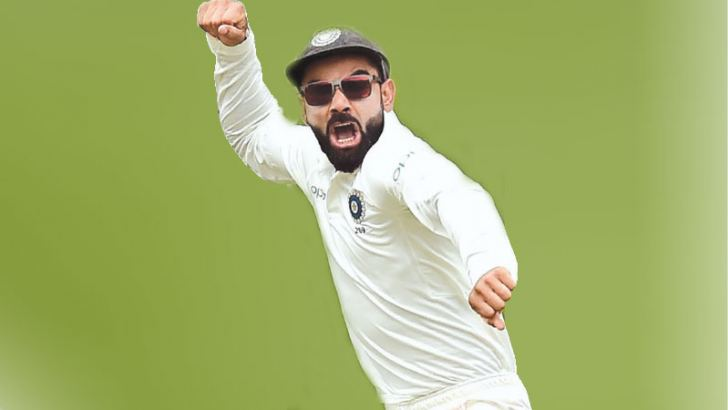 India's captain Virat Kohli (C) cleberates India's victory against Australia in the first Test cricket match at the Adelaide Oval on December 10.  AFP