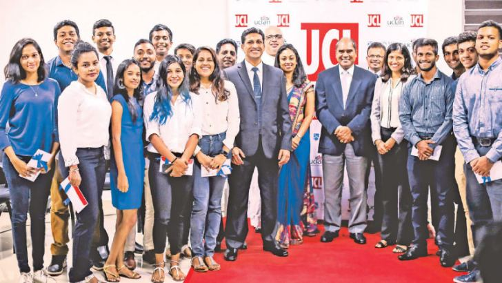 Chief Guest Dr, Harsha Alles with students who excelled at the UCL scholarship awards.