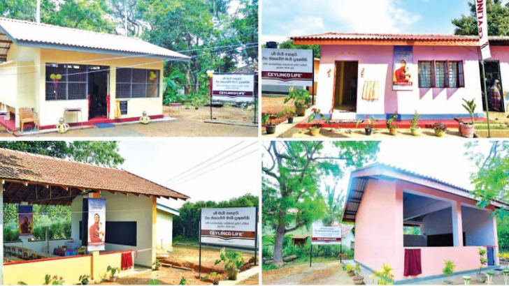 The four classroom buildings donated by Ceylinco Life in one week.