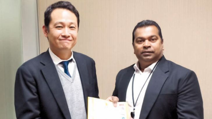 Director JBIC, Hiroyaki Suzuki with Dr. Prabath Ukwatte in JBIC headquarters Japan