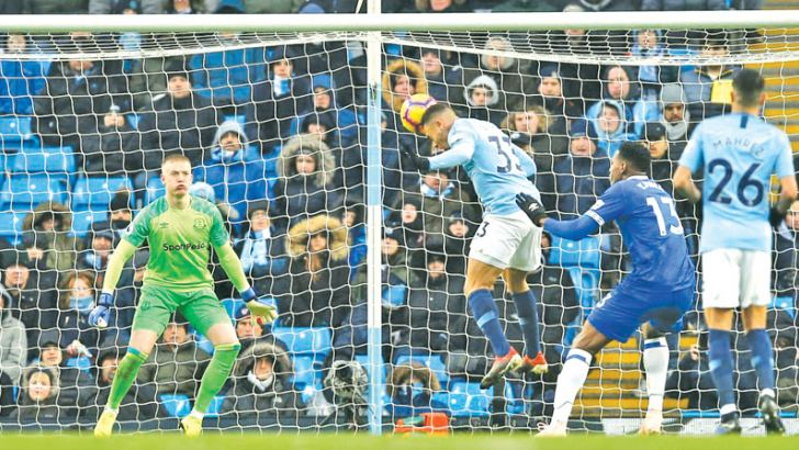 Manchester City's Gabriel Jesus scores their second goal in their Premier league match against Everton.