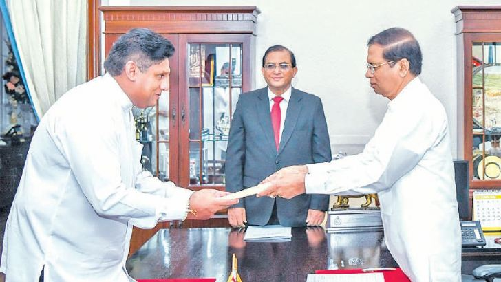 MP Sajith Premadasa being sworn in as the Housing, Construction and Cultural