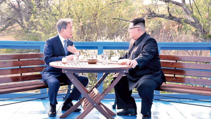 North and South Korean leaders getting down to serious business.