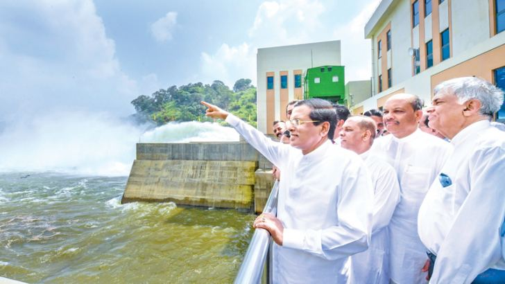 President Maithripala Sirisena and Prime Minister Ranil Wickremesinghe at the opening of the Moragahakanda Reservoir.