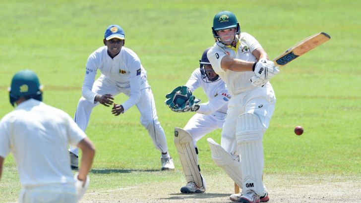 Australia's Corey Hunter who top scored with 71 pulls for runs on the leg side on the first day of the under 19 youth test against Sri Lanka at the SSC grounds.
