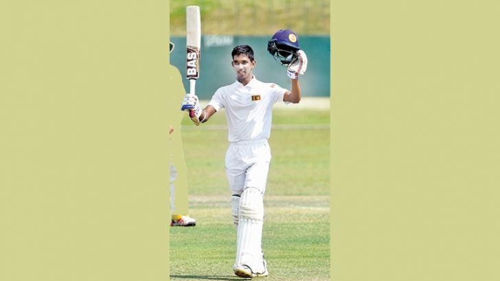 Opener Kamil Mishara stroked a fine century to give Sri Lanka the lead on the first innings on the second day of the one-off under youth test against Australia at the SSC grounds yesterday.