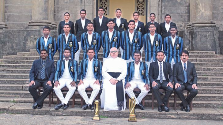 The 2018/19 S Thomas' College cricket team led by Sithara Hapuhinna (seated second from left) with Warden Rev'd Marc Billimoria.