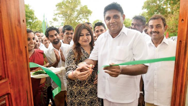 Minister Sajith Premadasa inaugurating the model village. Picture by Ashraff A. Samad.