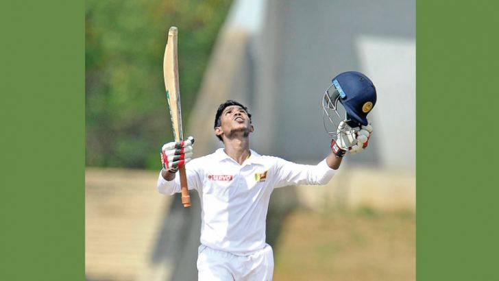 Sri Lanka 'A' opener Pathum Nissanka celebrates his double century on the fourth and final day of the second unofficial test against Ireland 'A' at Hambantota yesterday.