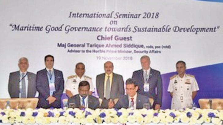 Admiral Prof. Jayanath Colombage, Director of PF with Chief of Naval Staff of Bangladesh Navy, Admiral Nizamuddin Ahmed, signing MOU with Pathfinder Foundation and BIMRAD by Admiral Prof. Jayanath Colombage, Director of PF with Chief of Naval Staff of Bangladesh Navy, Admiral Nizamuddin Ahmed at event