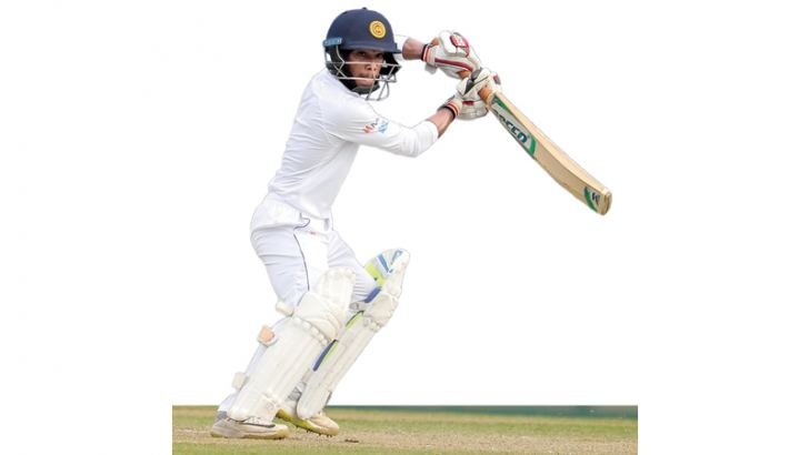 Pathum Nissanka batting against Ireland 'A' during his match-saving double century at Sooriyawewa.