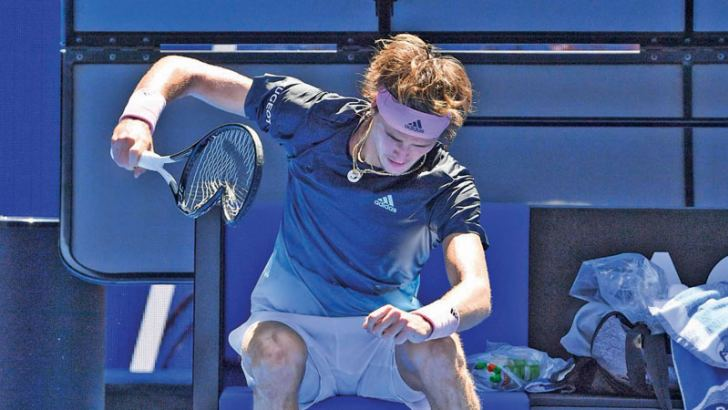 Germany's Alexander Zverev lost the plot against former world number three Canadian Milos Raonic crashing out 6-1, 6-1, 7-6 (7/5). AFP